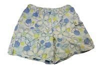 Talbots Womens Petite Size 12 Large White Blue Chino Short Stretch High Waisted