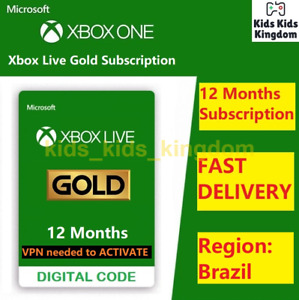 Xbox Live Gold 12 Month Membership - Xbox One 360 BRAZIL VPN Required