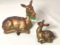 2 Plastic Bronze Brown Spotted Christmas Laying Reindeer Hong Kong Set Vintage