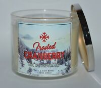 BATH & BODY WORKS FROSTED CRANBERRY SCENTED CANDLE 3 WICK 14.5OZ LARGE WHITE