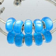5pcs Silver Cat's Eye European Charm Beads Fit Necklace Bracelet DIY V238