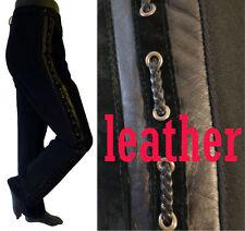 Gothic Cowboy suede leather pants bdsml 32 saddle stitch western racing stripe