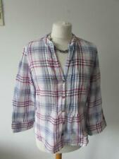 MARKS & SPENCER Ladies White Lilac Checked Pure Cotton Blouse Shirt Top Size 10