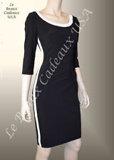 RALPH LAUREN Women Dress SIZE 12 BLACK WHITE TRIM 3/4 Sleeve Dressy $134 LBCUSA