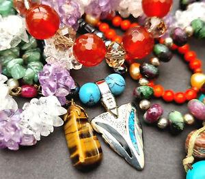 Gemstone bead necklace bracelet job lot amethyst ruby zoisite carnelian quartz