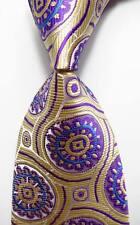 New Classic Geometric Beige Blue Purple JACQUARD WOVEN Silk Men's Tie Necktie