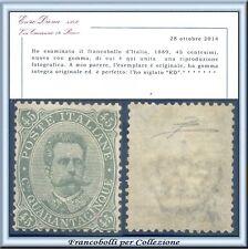 PROPOSTA 1889 Italia Regno Umberto c. 45 verde oliva n. 46 Cert. Diena Nuovo **