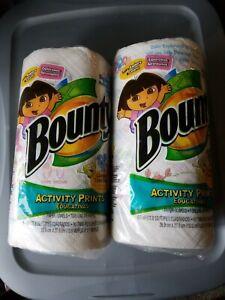 Rare New Bounty Paper Towel  Activity Prints 2 Rolls Dora Blues Clues SpongeBob