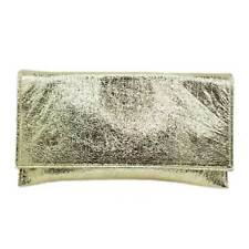 GOLD METALLIC LEATHER EVENING CLUTCH