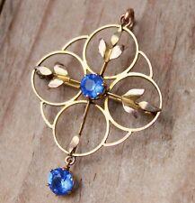 9ct Gold Pendant Brooch Art Nouveau Blue Paste Jewellery Edwardian 9 Carat 9K 9C