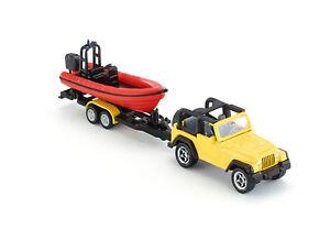Siku 1658 - Jeep Wrangler Car with Boat Trailer Diecast