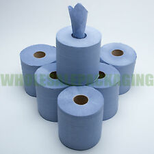 6 PACK 2 PLY BLUE EMBOSSED CENTRE FEED PAPER WIPE ROLLS