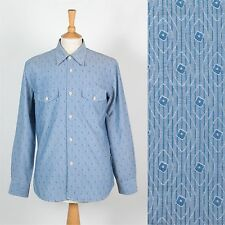 MENS VINTAGE VTG SHIRT STRIPED ABSTRACT BLUE CRAZY PATTERN CASUAL L