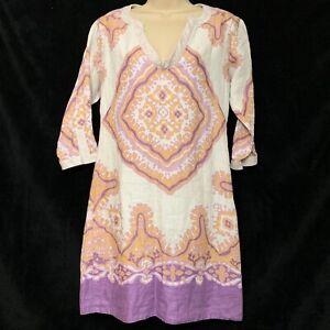 J Crew Womens Linen Tunic Sz 2 Festival Print Purple  Lined 3/4 Sleeve V Neck