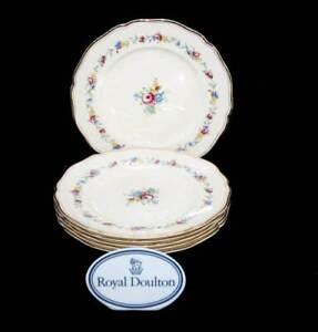 Vintage Royal Doulton St James cream & pink roses set of 6 entree salad plates