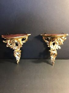 A Pair Of  Antique Hand Carved And Gilded Wooden Shelves/Brackets. Italy C. 1900