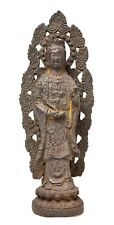 More details for antique japanese iron buddha kannon figure