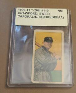 "Nice 1909 T-206 Baseball Card of Hall of Famer ""Wahoo"" Sam Crawford - Free Ship!"