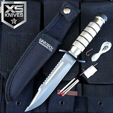 "WARTECH 9"" Heavy Duty Stainless Steel Serrated Blade Survival Knife W/ Kit"