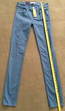 NWT Tory Burch Womens Ivy Super Skinny Jeans Low Rise Teal Slate Size 24 New