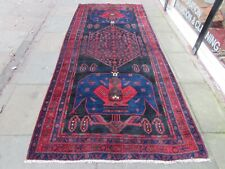 Vintage Hand Made Traditional Rug Oriental Rug Wool Blue Red Long Rug 323x140cm