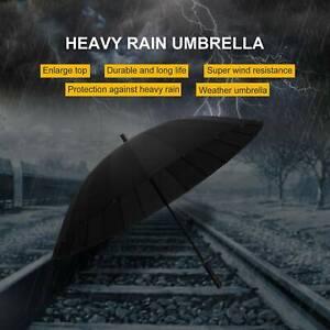Men&Women Super Stormproof Strong Windproof 24 Steel Ribs Black Umbrella