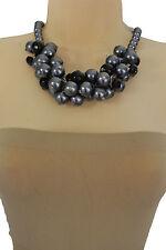 Women Metallic Blue Imitation Pearl Beads Short Fashion Necklace Black Beads
