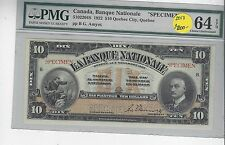 **1922**BG Amyot $10 Le Bankque Nationale Specimen Note ;PMG Ch Unc SP-64