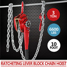 Chain Lever Block Hoist Come Along Ratchet Lift 10ft 6600lbs Capacity CA Local