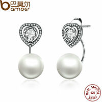 Bamoer Love S925 Sterling Silver Stud Earring Heart With Pearl For Women Jewelry