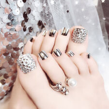 24Pcs Charming Foot False Nail Tips Glitter Rhinestone Fake Toes Nails Tool 2018