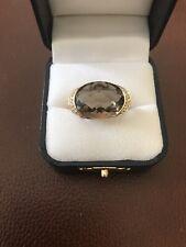 14k Yellow Gold Effy Smokey Topaz Diamond Ring