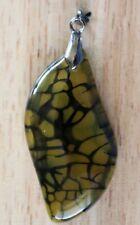 Black yellow dragon veins agate freeform pendant bead 37x23x7mm