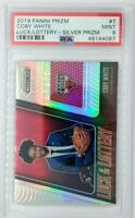 2019-20 Panini Prizm Luck of the Lottery Silver Coby White #7, PSA 9, Pop 7, 15^