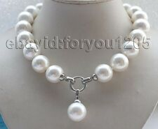 """18"""" Natural 18mm White Round Shell Pearl Necklace Pendant #f1722!"""