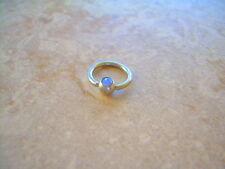 "CZ Gem Captive Bead Ring 14g  3/8"" Lip Ear Light Blue"