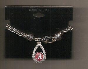 Alabama Crimson Tide Logo Crystal Bracelet Fashion Braided Toggle Bracelet New