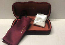 😎NEW Authentic GUCCI Large Red 🕶Sunglasses Case ➕Pouch ➕Cleaning Cloth