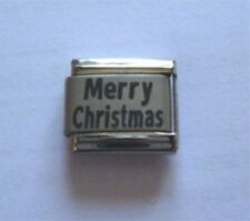 9mm Italian Charms  L79 Xmas Happy Merry Christmas Fits Classic Size Bracelet