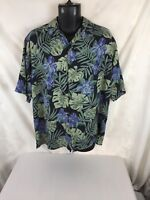 Island Republic Men's Shirt Hawaiian Floral Silk  Short Sleeved  LARGE Blue