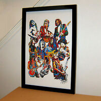 80s Guitar Players Van Halen Slash Rhoads SRV Music Print Poster Wall Art 11x17