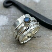 Labradorite Ring 925 Sterling Silver Spinner Ring Meditation Ring Jewelry NS38