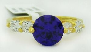 AMETHYST 2.45 Cts & WHITE SAPPHIRE RING 14K YELLOW GOLDPLATED ** New With Tag
