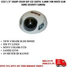 "CL22 1/3"" SHARP COLOR DSP CCD 520TVL 3.6MM 10M WHITE SLIM DOME SECURITY CAMERA"