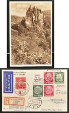 GERMANY 1935 Lovely Castle Elz Reg Airmail Lottery Picture PSC Card Hamburg to..