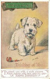 Early TERRIER  Thinking of You  MAC  Lucy Dawson  Dog Postcard