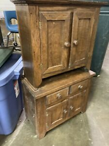 Antique 19th C Petite Wooded Doll Cupboard Cabinet Hutch Salesman Sample