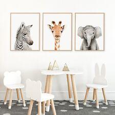 A4 Set Of 3 Nursery Decor Wall Art Print Safari Elephant Giraffe Zebra