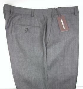 "Michael Kors Mens 33""x32"" Wool Dress Pants Slack Gray Black Flat Front Trouser"