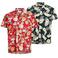Jack & Jones Mens King Size Floral Print Short Sleeved Collar Casual Shirt Tops